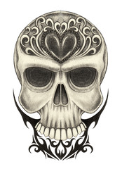 Art Vintage heart mix skull tattoo. Hand pencil drawing on paper.