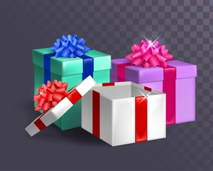 Three gifts with bows on a transparent background