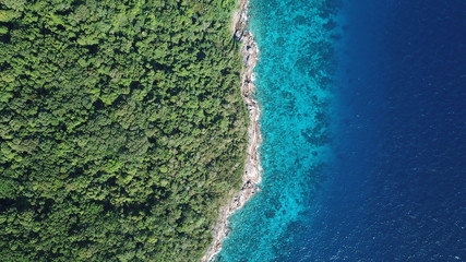 In de dag Eiland Tropical island in sea. Similan Islands, Thailand. Aerial photo