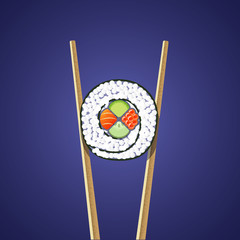 Sushi roll with chopsticks on the dark blue background