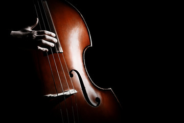 In de dag Muziek Double bass. Hands playing contrabass player musical instrument