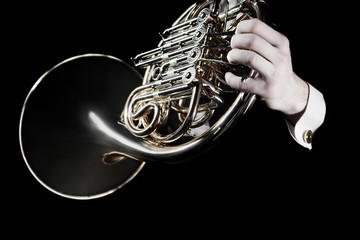Photo sur Aluminium Musique French horn player hands. Hornist playing horn