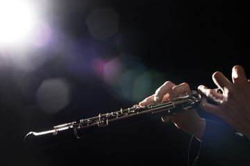 Photo sur Plexiglas Musique Oboe player hands. Woodwind instruments