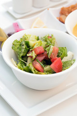 Fresh vegetable salad in white dish - healthy food