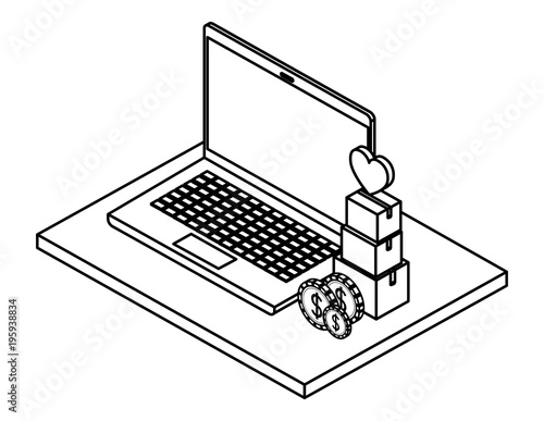 Laptop With Pile Boxes Of Heart And Coins Isometric Vector