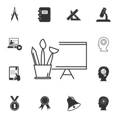 brushes and art easel icon. Detailed set of education element icons. Premium quality graphic design. One of the collection icons for websites, web design, mobile app