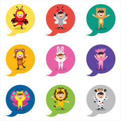 kids in animal costume icon