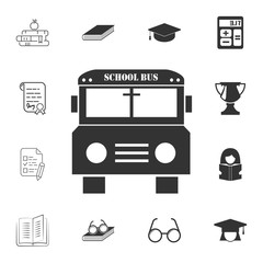 school bus icon. Detailed set of education element icons. Premium quality graphic design. One of the collection icons for websites, web design, mobile app