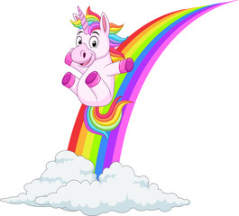 Cartoon unicorn sliding on rainbow
