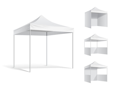 Vector pop up white realistic tent for outdoor event. Illustration isolated on white background vector