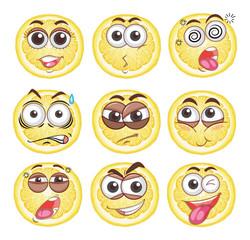 Lemon cut with different emotions