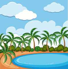 Background scene with coconut trees on the beach