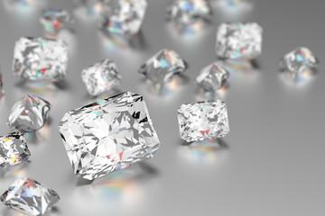 3D rendering Luxury diamonds on white background