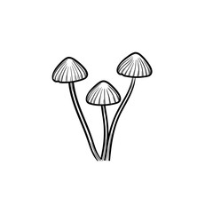 Agaric mushroom hand drawn outline doodle icon. Vector sketch illustration of healthy raw mushroom for print, web, mobile and infographics isolated on white background.