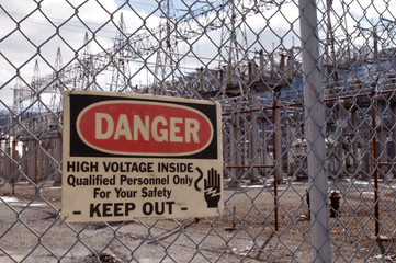 A Danger sign outside of an electrical power substation