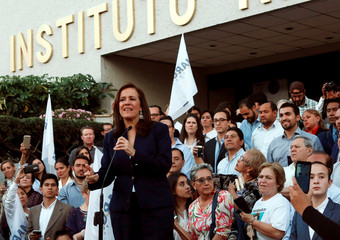Margarita Zavala delivers a speech to her supporters after registering as an independent presidential candidate at the INE, for the upcoming July 1 federal elections in Mexico City, Mexico