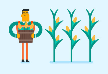 Young caucasian white farmer collecting corn crops in the field. Happy smiling farmer holding busket full of corn cobs. Vector cartoon illustration. Horizontal layout.