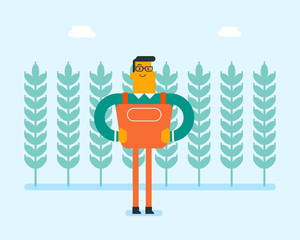 Young cheerful caucasian white farmer standing standing on the background of wheat plantation. Smiling agriculturist working on a farm wheat field. Vector cartoon illustration.