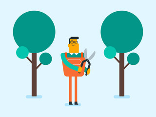 Young caucasian white farmer cutting tree with scissors in the garden. Gardener pruning branches of a tree with a pruner. Vector cartoon illustration.