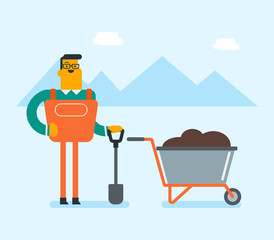 Young caucasian white farmer standing with a shovel and wheelbarrow full of soil. Farmer with a shovel standing next to the wheelbarrow with pile of organic fertilizers. Vector cartoon illustration.