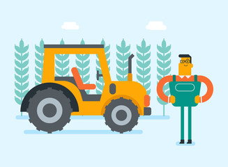 Caucasain white farmer standing on the background of field with tractor. Young happy smiling rural worker working on a tractor. Vector cartoon illustration. Horizontal layout.