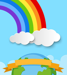 Banner template with earth and rainbow in sky