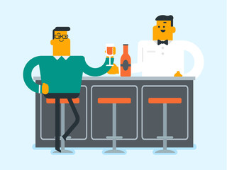 Caucasian man sitting at the bar counter. Young man relaxing in the bar with a glass of alcohol drink. Man celebrating with alcohol drink in the bar. Vector cartoon illustration. Horizontal layout.