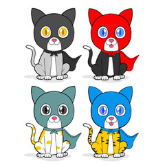 four cute cats with hero costumes illustration