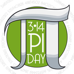 Pi Day Commemoration with Round Button and Silver Symbol, Vector Illustration
