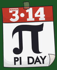 Loose-leaf Calendar with Date and Symbol to Celebrate Pi Day, Vector Illustration