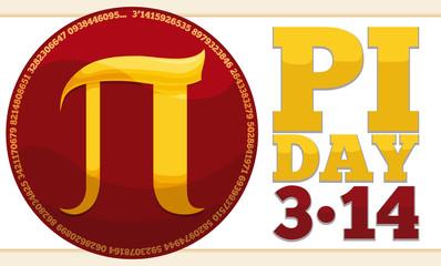 Round Button with Golden Pi Symbol for Pi Day Celebration, Vector Illustration