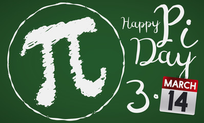 Chalkboard with Pi Symbol and Calendar for Pi Day Celebration, Vector Illustration