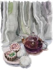 Watercolor painting depicting a glass teapot and sweets