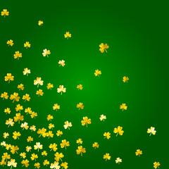 Shamrock background for Saint Patricks Day. Lucky trefoil confetti. Glitter frame of clover leaves. Template for poster, gift certificate, banner. Happy shamrock background.
