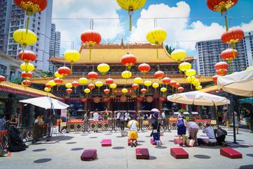 Kowloon, Hong Kong - August 11th 2017 : Wong Tai Sin Temple Fotomurales