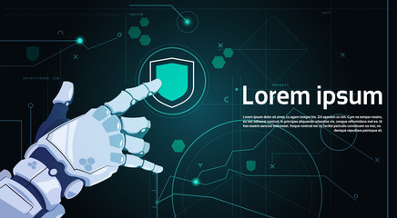 Wall Mural - Robotic Hand Touch Shield Button On Digital Screen Data Protection Concept Banner With Copy Space Flat Vector Illustration