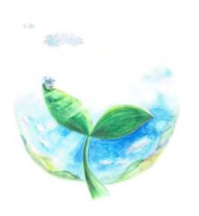 エコロジーイメージ 双葉 水滴 光