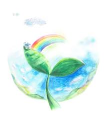 エコロジーイメージ 双葉 虹 水滴 光