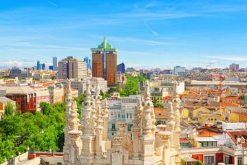 Fotomurales - Panoramic view from above on the capital of Spain- the city of Madrid