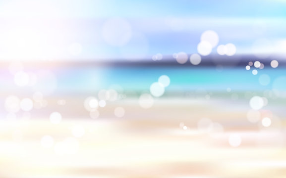 Beautiful Blurred Beach Seaside Bokeh Landscape Background Vector Illustration