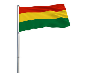 Isolate flag of Bolivia on a flagpole fluttering in the wind on a white background, 3d rendering.