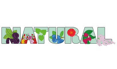 the inscription is NATURAL. vector illustration.