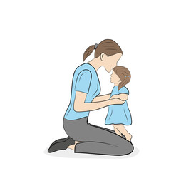 mother kisses a small daughter. mothers Day. vector illustration.