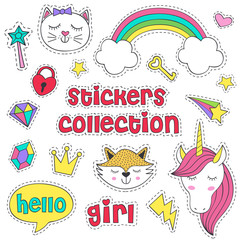 set of isolated stickers for girl - vector illustration, eps