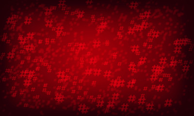 Red hashtag random pattern background.