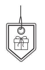 commercial hangtag with gift hanging vector illustration design