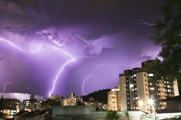 Thunderstorm in a residential neighborhood. Stacked time lapse sequence. Florianópolis, Santa Catarina / Brazil