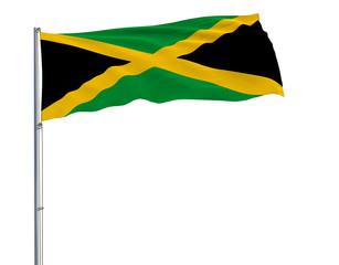 Flag of Jamaica on flagpole fluttering in the wind on white background, 3d rendering.