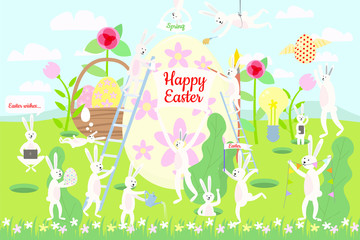 Set of cute Easter cartoon characters and design elements. Easter bunny, eggs and flowers. Vector illustration.