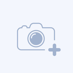 Camera icon with add sign. Camera icon and new, plus, positive concept